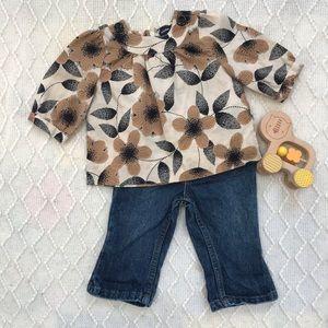 Baby Gap Floral Blouse & Levi's 12-18 months